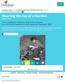 Sharing the Joy of a Garden Lesson Plan