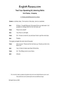 Shopping Worksheet