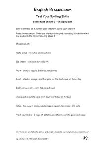 Shopping List Worksheet