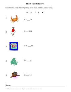 Short Vowel Review Worksheet