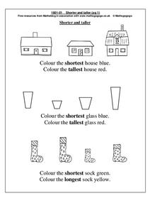 Shorter and Taller Worksheet
