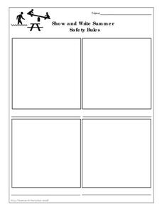 Show and Write Summer Safety Rules Worksheet