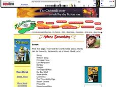 Shrek Word Search Lesson Plan
