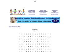 shrek word search worksheet for 1st 2nd grade lesson planet. Black Bedroom Furniture Sets. Home Design Ideas