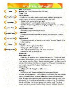 Sight Words Lesson Plan