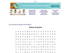 African Countries Worksheet