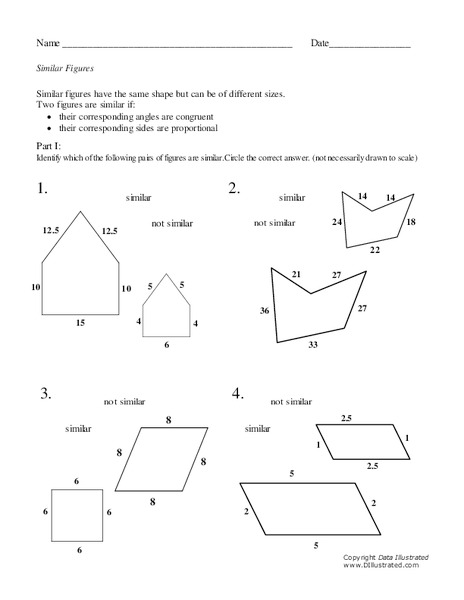 Similar Figures Worksheet For 7th 9th Grade Lesson Planet