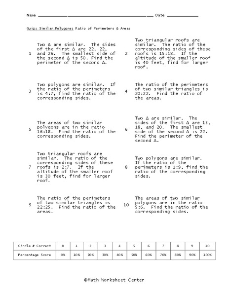 Similar Polygons Worksheet For 10th Grade Lesson Planet