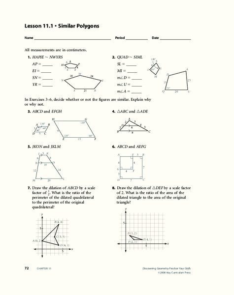 Similar Figures Worksheet For 10th Grade Lesson Planet