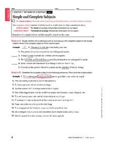 Simple and Complete Subjects Worksheet