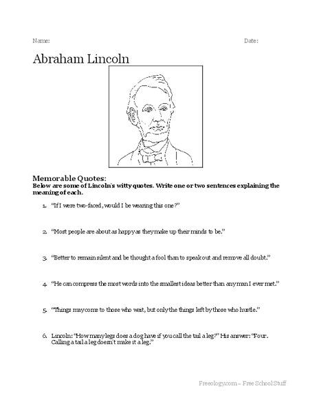 Abraham Lincoln Worksheet For 3rd 6th Grade Lesson Planet