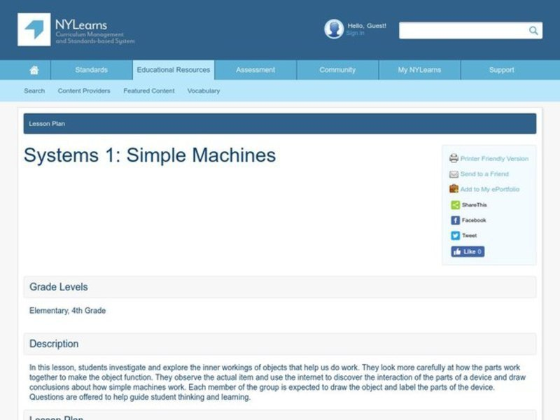 Simple Machines Lesson Plan