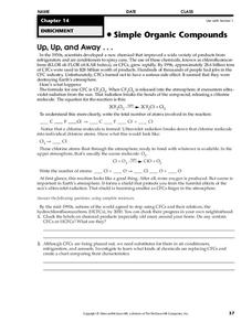 Simple Organic Compounds Worksheet