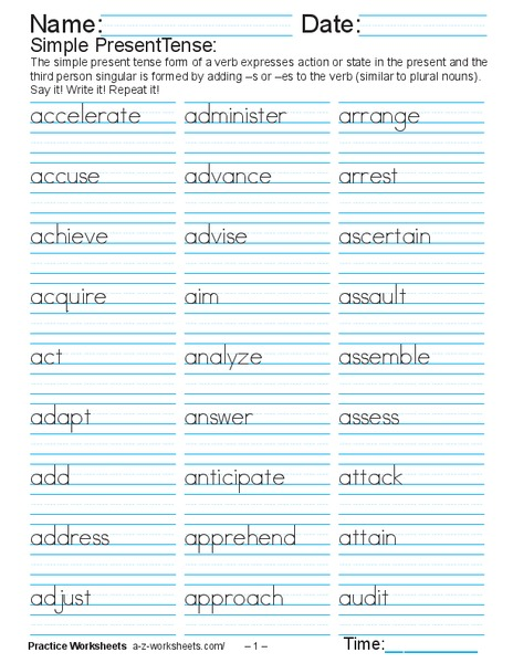 simple present tense say and write worksheet for 2nd