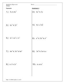 Simplify the Exponents Worksheet