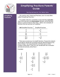 Simplifying Fractions Handouts & Reference