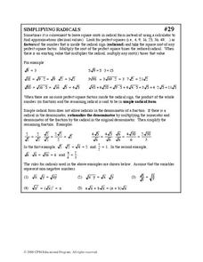 Simplifying Radicals Worksheet
