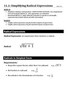 Simplifying Radical Expressions Worksheet for 8th - 11th Grade ...