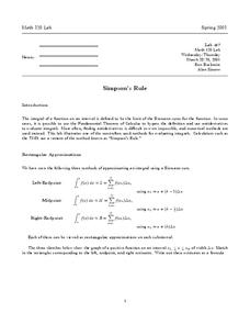 Simpson's Rule Worksheet