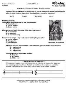 Singing II Worksheet