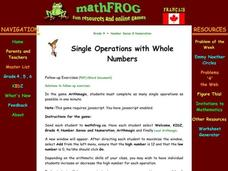 Single Operations with Whole Numbers Lesson Plan