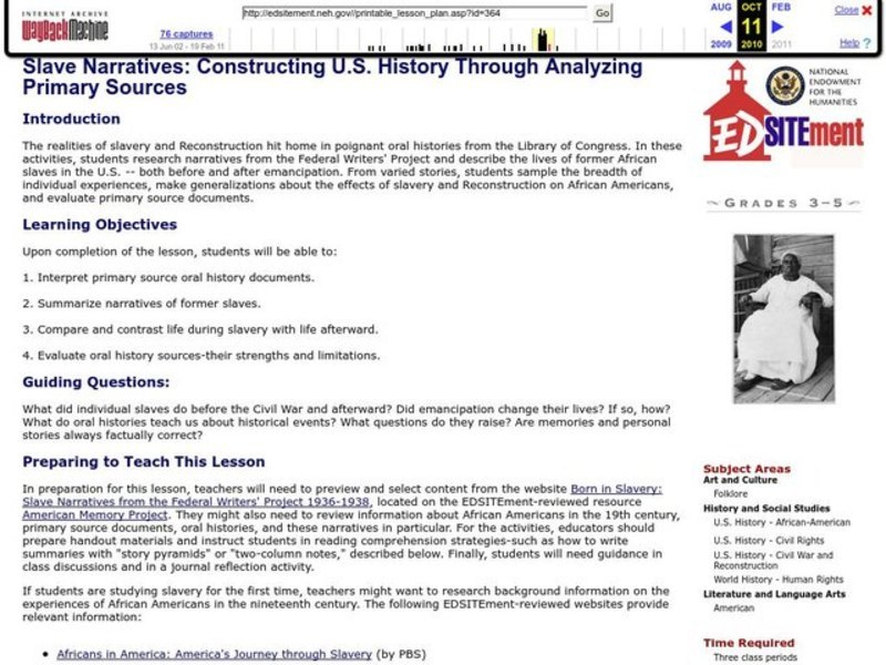 Slave Narratives: Constructing U.S. History Through Analyzing Primary Sources Lesson Plan