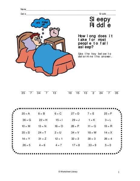 Sleepy Riddle Worksheet for 1st - 3rd Grade | Lesson Planet