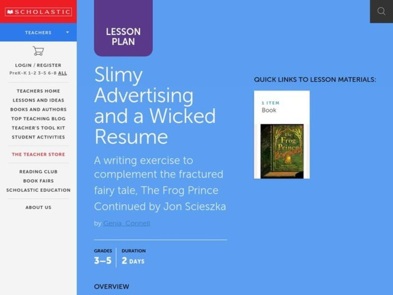 Slimy Advertising and a Wicked Resume Lesson Plan