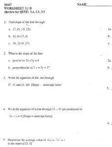 Slope of a Line Worksheet