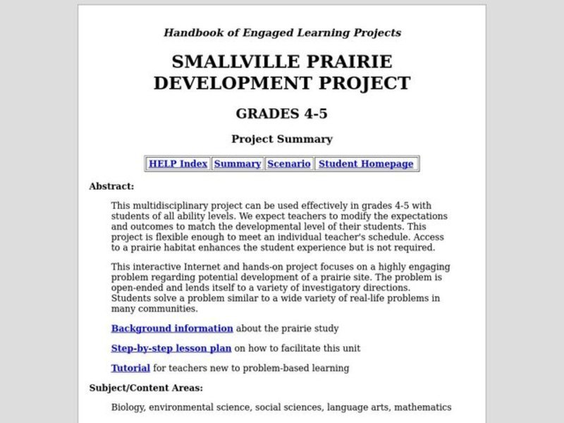 Smallville Prairie Development Project Lesson Plan