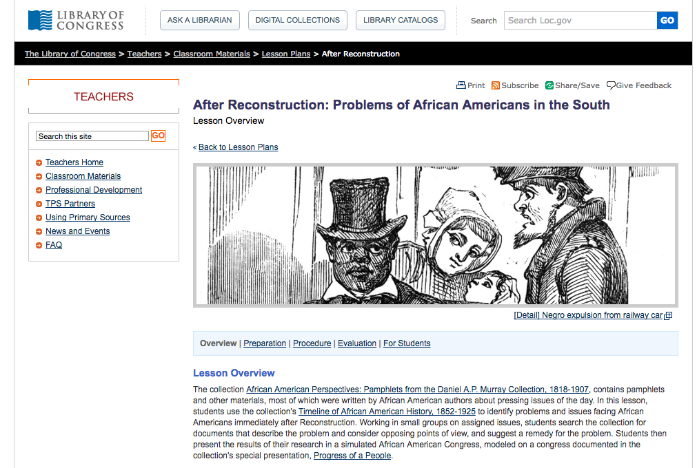After Reconstruction: Problems of African Americans in the South Unit