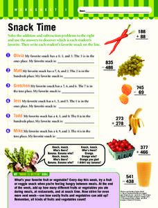 Snack Time Worksheet