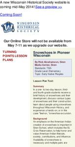 Snowshoes In Pioneer Wisconsin Lesson Plan