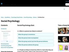 Social Psychology Worksheet