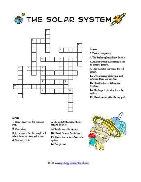 solar system crossword worksheet for 3rd 6th grade lesson planet. Black Bedroom Furniture Sets. Home Design Ideas