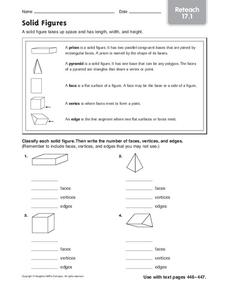 Solid Figures: Reteach Worksheet