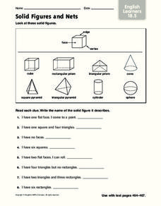 Solid Figures and Nets Worksheet