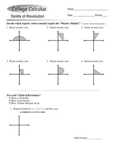 Solids of Revolution Worksheet