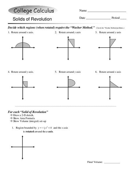 Solids of Revolution Worksheet for 12th - Higher Ed   Lesson Planet