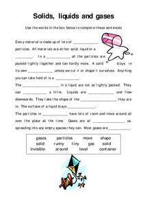 Solids, Liquids, and Gases Worksheet