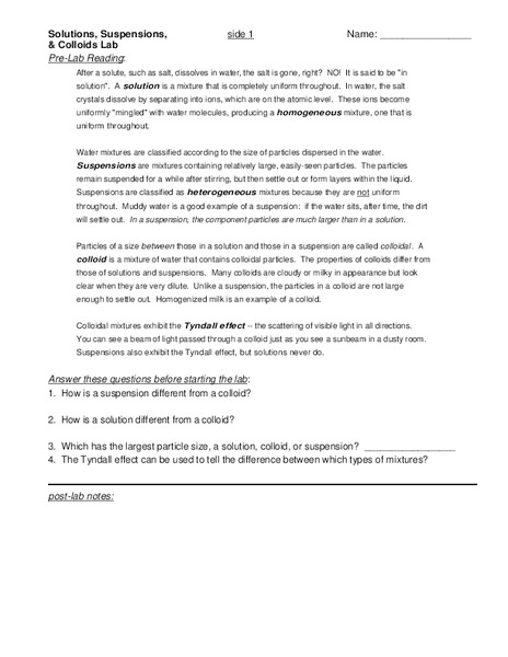 Solutions Suspensions And Colloids Lesson Plan For 6th 8th Grade