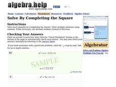 Solve By Completing The Square Worksheet