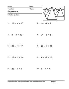 Solve the Equations Worksheet