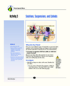Solutions, Suspensions, and Colloids Activities & Project