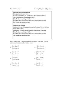 Solving a System of Equations Worksheet