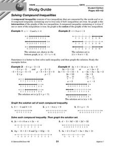 Solving Compound Inequalities Worksheet For 9th Grade Lesson Planet