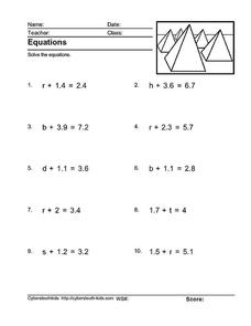 Solving Equations Worksheet