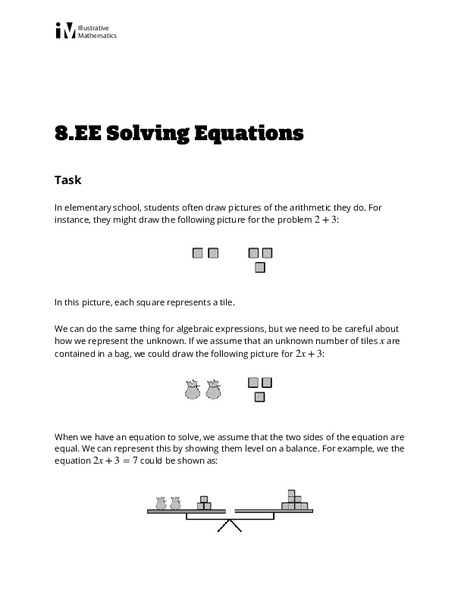 Solving Equations Activities & Project
