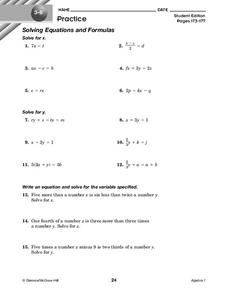 Solving Equations and Formulas Worksheet