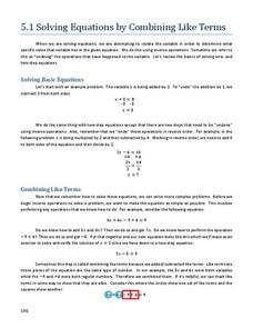 Solving Equations by Combining Like Terms Handouts & Reference